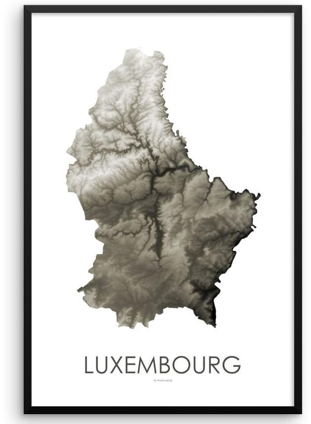 Luxembourg Poster Slate-topographic wall art map by MapScaping