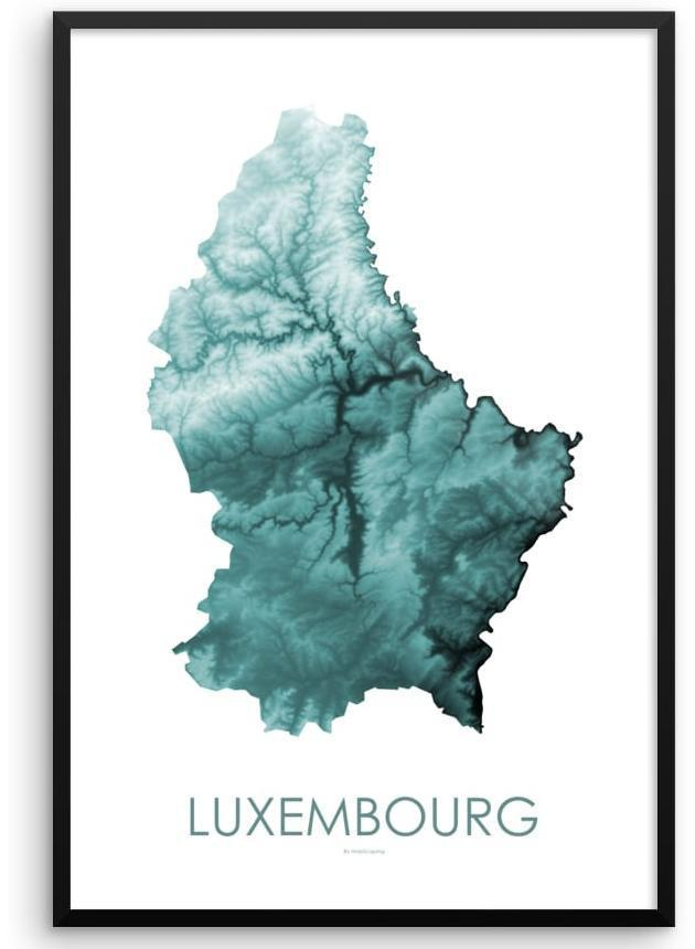 Luxembourg Poster Teal-topographic wall art map by MapScaping