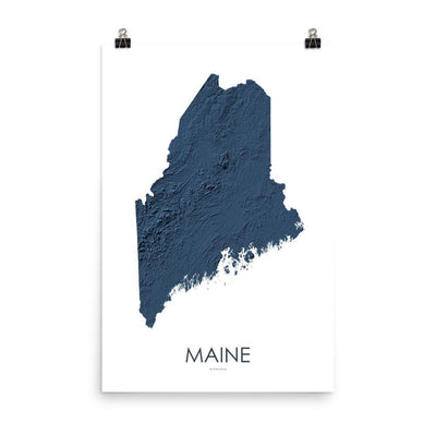 "Maine Poster 3D Midnight Blue-18""×24"" - 45.72cm x 60.96cm-topographic wall art map by MapScaping"