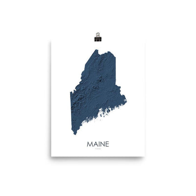 "Maine Poster 3D Midnight Blue-8""x10"" - 20.32cm x 25.4cm-topographic wall art map by MapScaping"