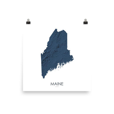 "Maine Poster 3D Midnight Blue-10""x10"" - 25.4cm x 25.4cm-topographic wall art map by MapScaping"