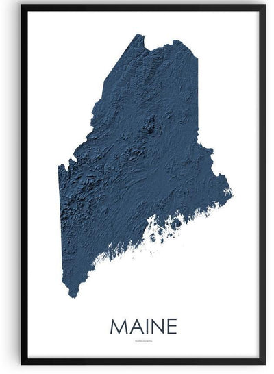 Maine Poster 3D Midnight Blue-topographic wall art map by MapScaping