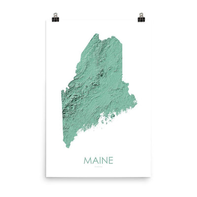 "Maine Poster 3D Mint-18""×24"" - 45.72cm x 60.96cm-topographic wall art map by MapScaping"