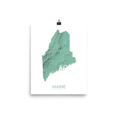"Maine Poster 3D Mint-8""x10"" - 20.32cm x 25.4cm-topographic wall art map by MapScaping"