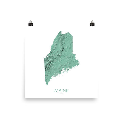 "Maine Poster 3D Mint-10""x10"" - 25.4cm x 25.4cm-topographic wall art map by MapScaping"