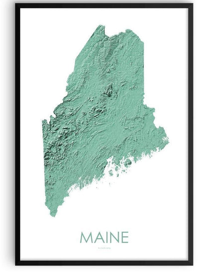 Maine Poster 3D Mint-topographic wall art map by MapScaping