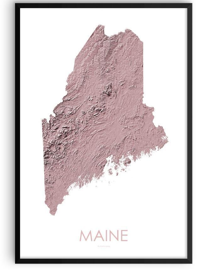 Maine Poster 3D Rose-topographic wall art map by MapScaping