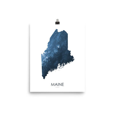 "Maine Poster Midnight Bue-8""x10"" - 20.32cm x 25.4cm-topographic wall art map by MapScaping"