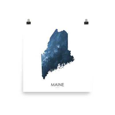 "Maine Poster Midnight Bue-10""x10"" - 25.4cm x 25.4cm-topographic wall art map by MapScaping"