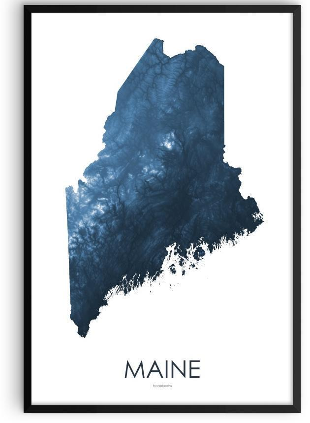 Maine Map Midnight Bue Mapscaping