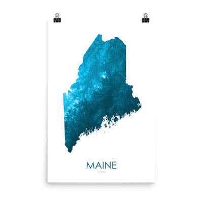 "Maine Poster Petroleum Blue-18""×24"" - 45.72cm x 60.96cm-topographic wall art map by MapScaping"