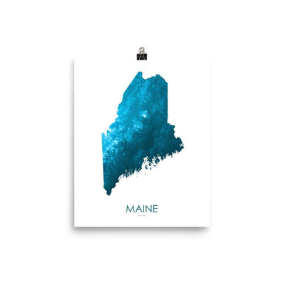 "Maine Poster Petroleum Blue-8""x10"" - 20.32cm x 25.4cm-topographic wall art map by MapScaping"
