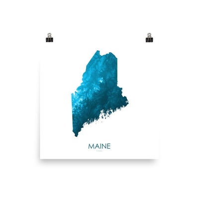 "Maine Poster Petroleum Blue-10""x10"" - 25.4cm x 25.4cm-topographic wall art map by MapScaping"