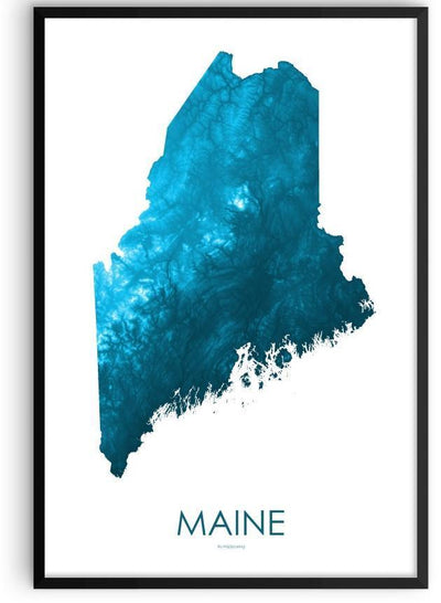 Maine Poster Petroleum Blue-topographic wall art map by MapScaping