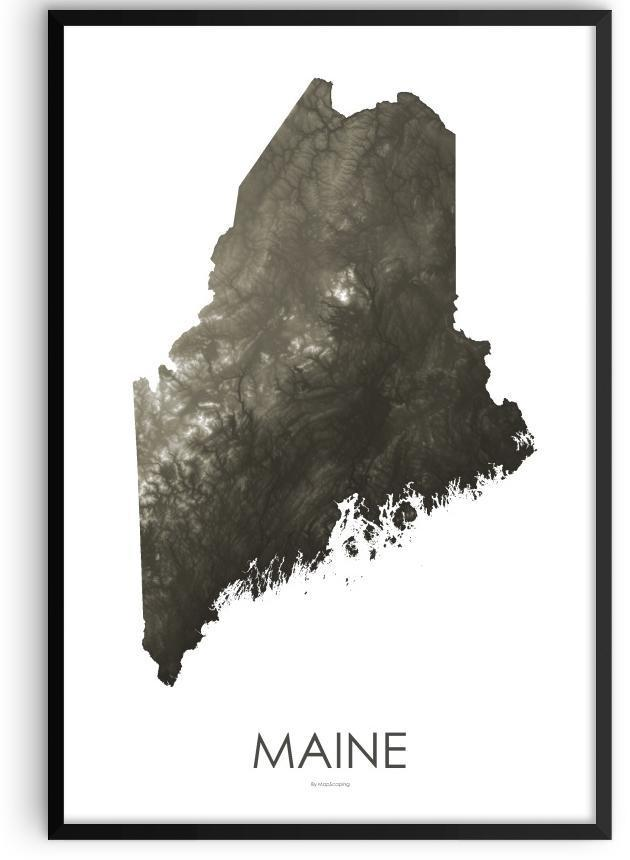 Maine Poster Slate-topographic wall art map by MapScaping