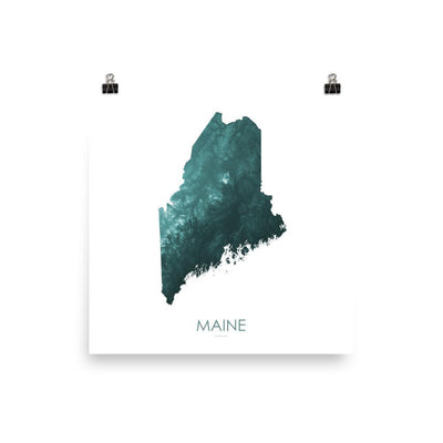 "Maine Poster Teal-10""x10"" - 25.4cm x 25.4cm-topographic wall art map by MapScaping"