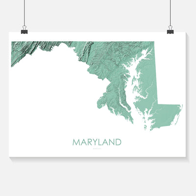 Maryland Map 3D Mint-Topographic Map