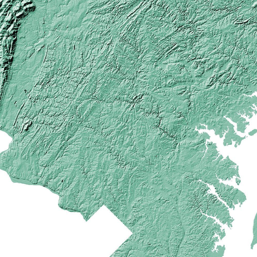 Maryland topographic wall art map - MapScaping.com