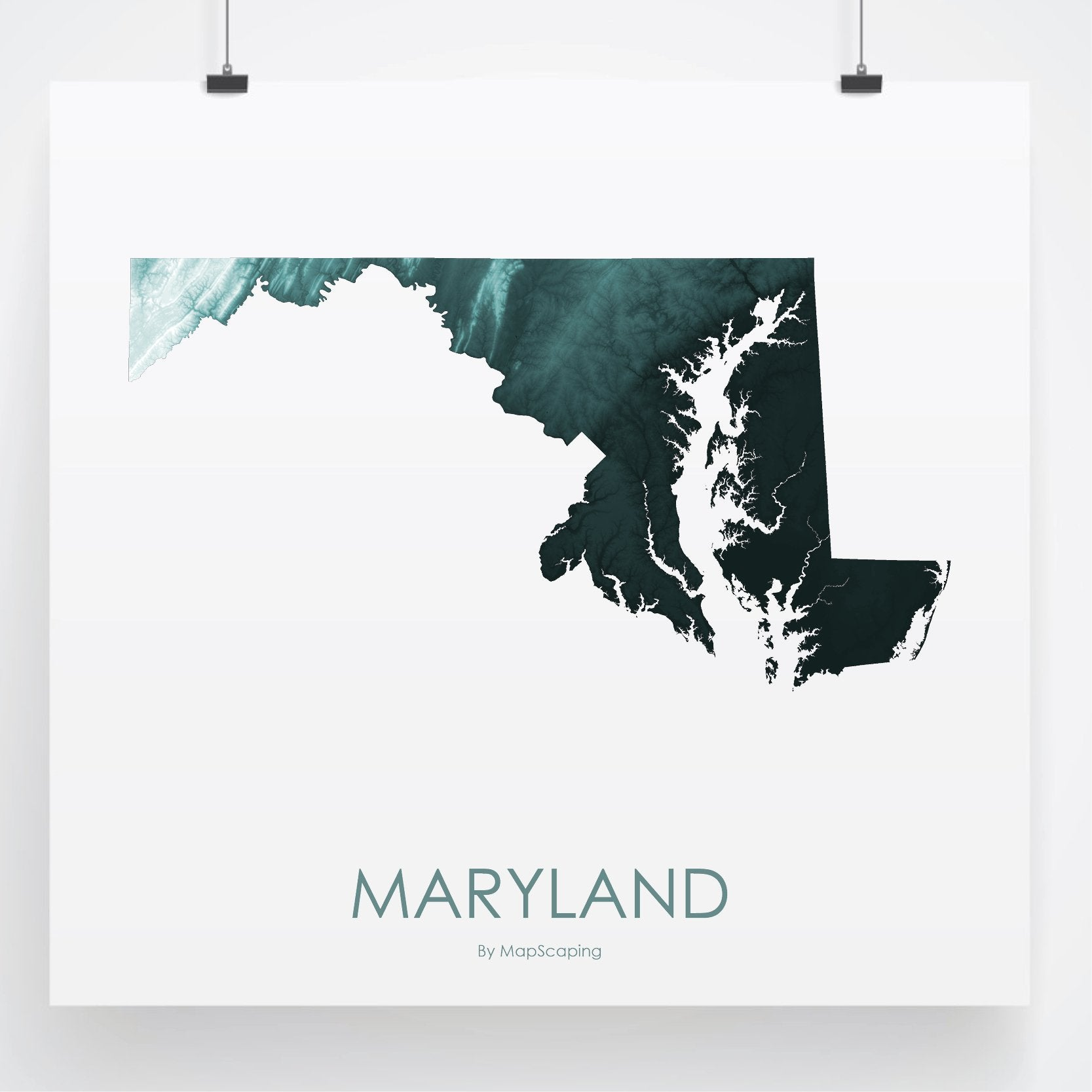 Maryland Topographic Wall Art Map Mapscaping Com