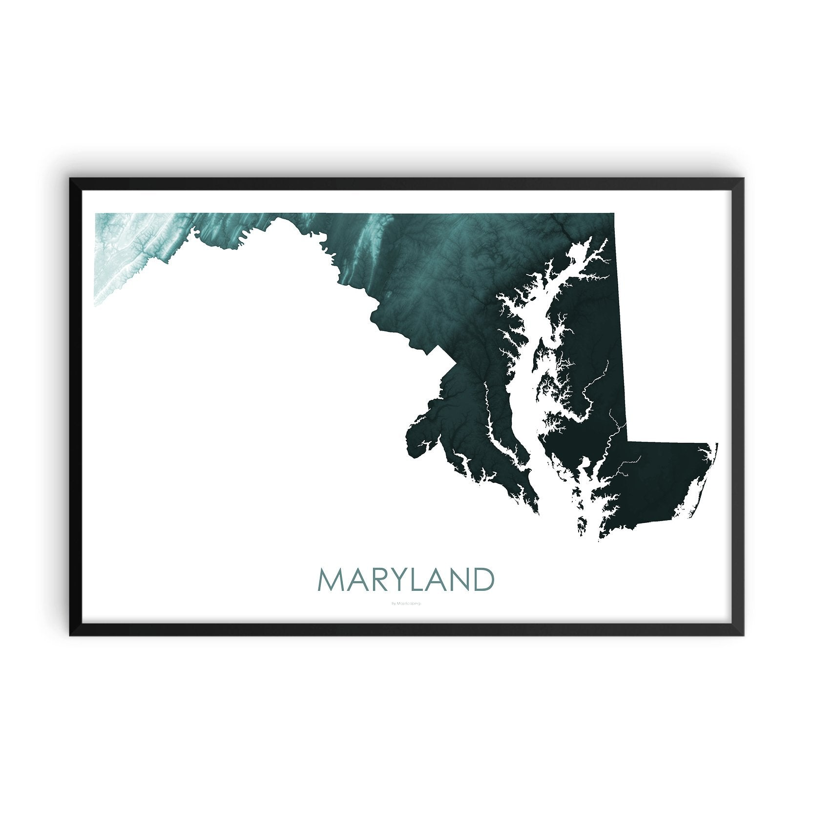 Maryland Map Teal-Topographic Map