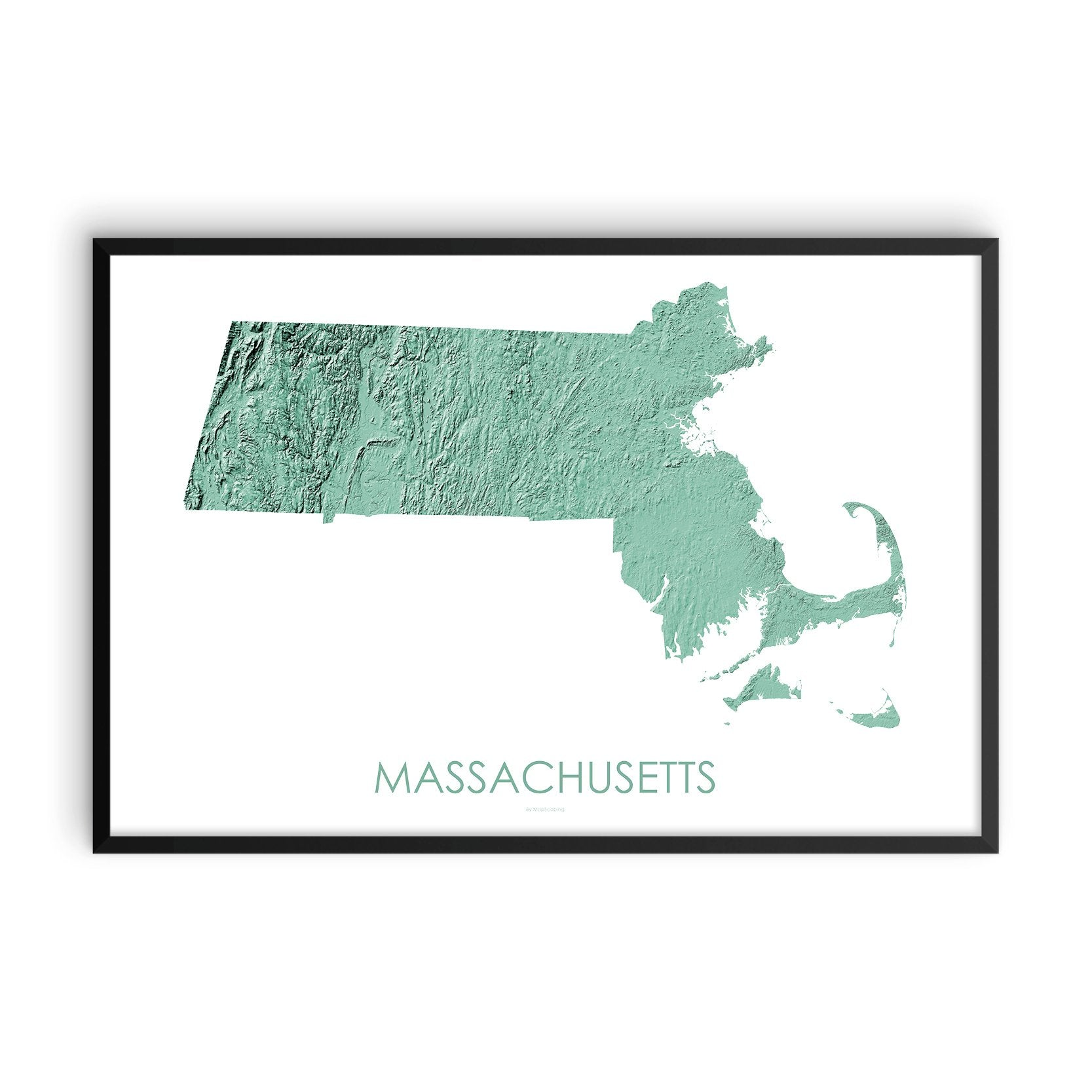 Massachusetts Map 3D Mint-Topographic Map