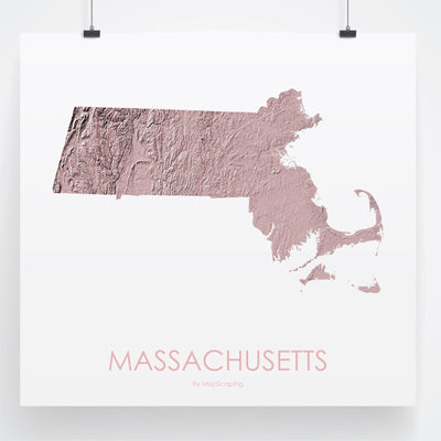 Massachusetts Map 3D Rose-Topographic Map