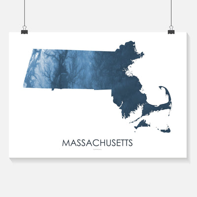Massachusetts Map Midnight Blue-Topographic Map