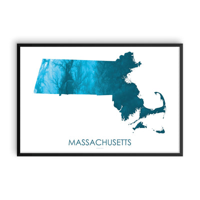 Massachusetts Map Petroleum Blue-Topographic Map