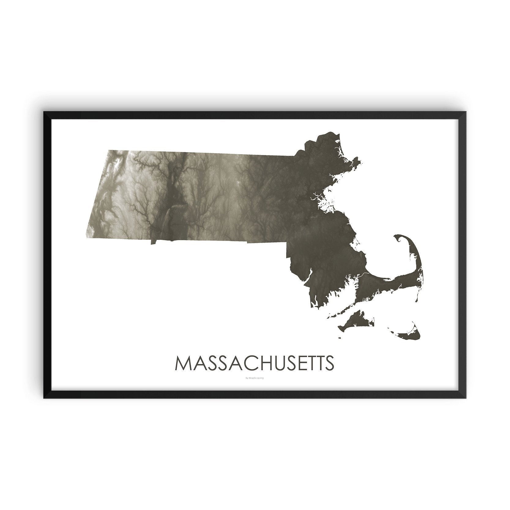 Massachusetts Map Slate-Topographic Map