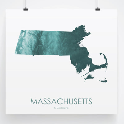 Massachusetts Map Teal-Topographic Map