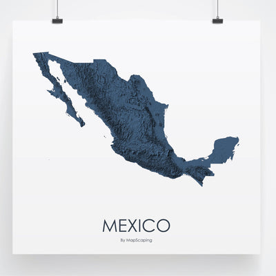 Mexico Map 3D Midnight Blue-Topographic Map