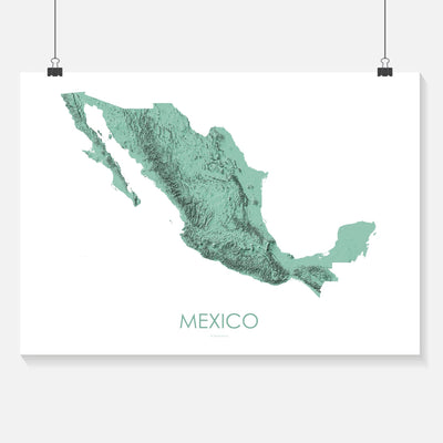 Mexico Map 3D Mint-Topographic Map