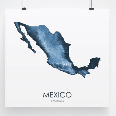 Mexico Map Midnight Blue-Topographic Map