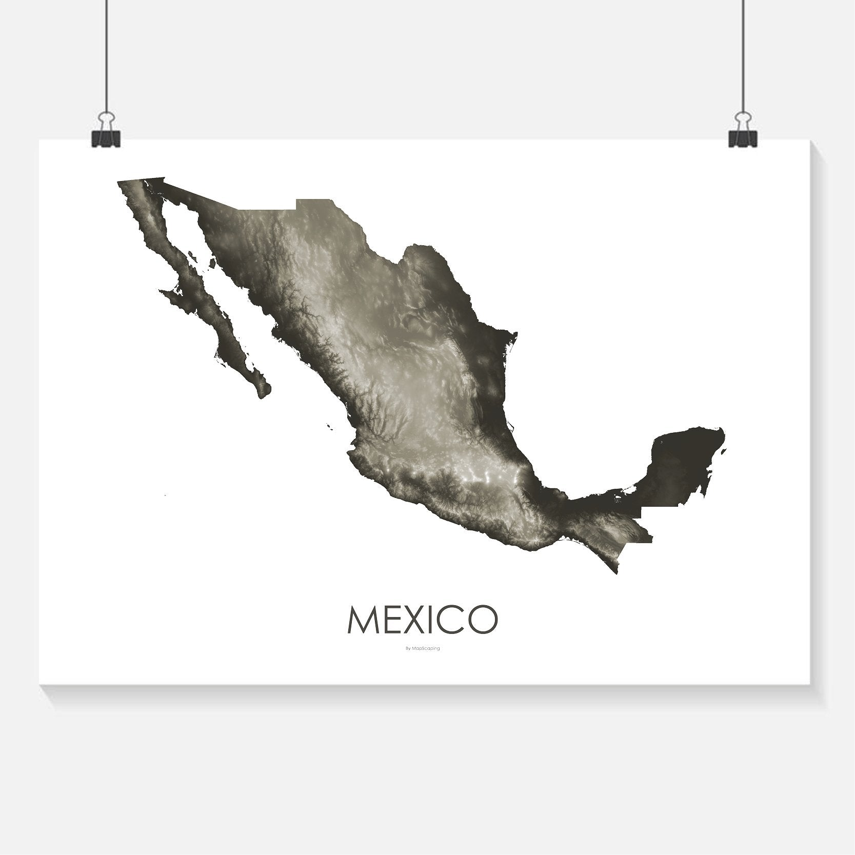 Mexico Topographic Wall Art Map Mapscaping Com