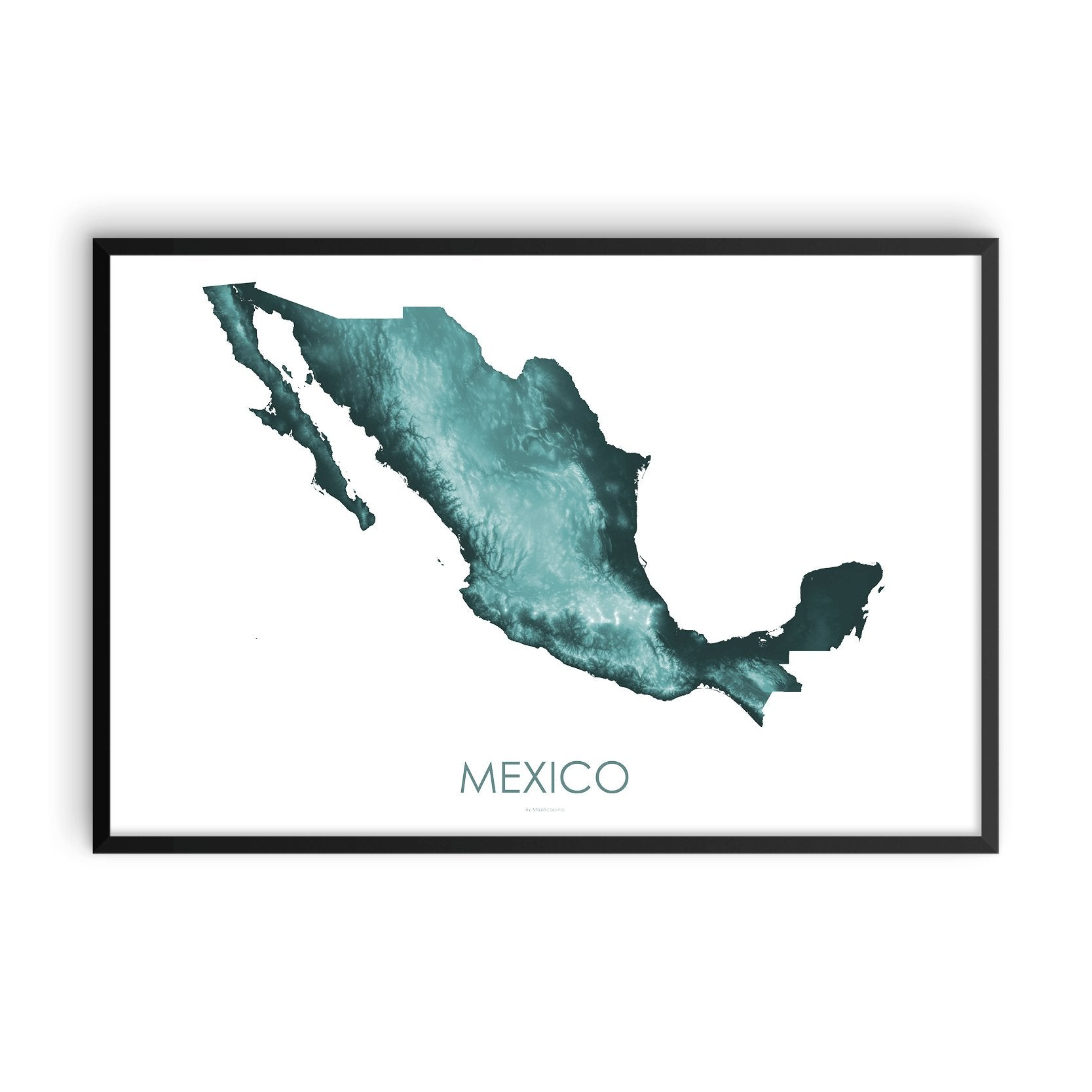 Mexico Map Teal-Topographic Map