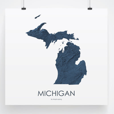 Michigan Map 3D Midnight Blue-Topographic Map