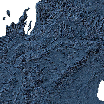 Michigan Poster 3D Midnight Blue-topographic wall art map by MapScaping