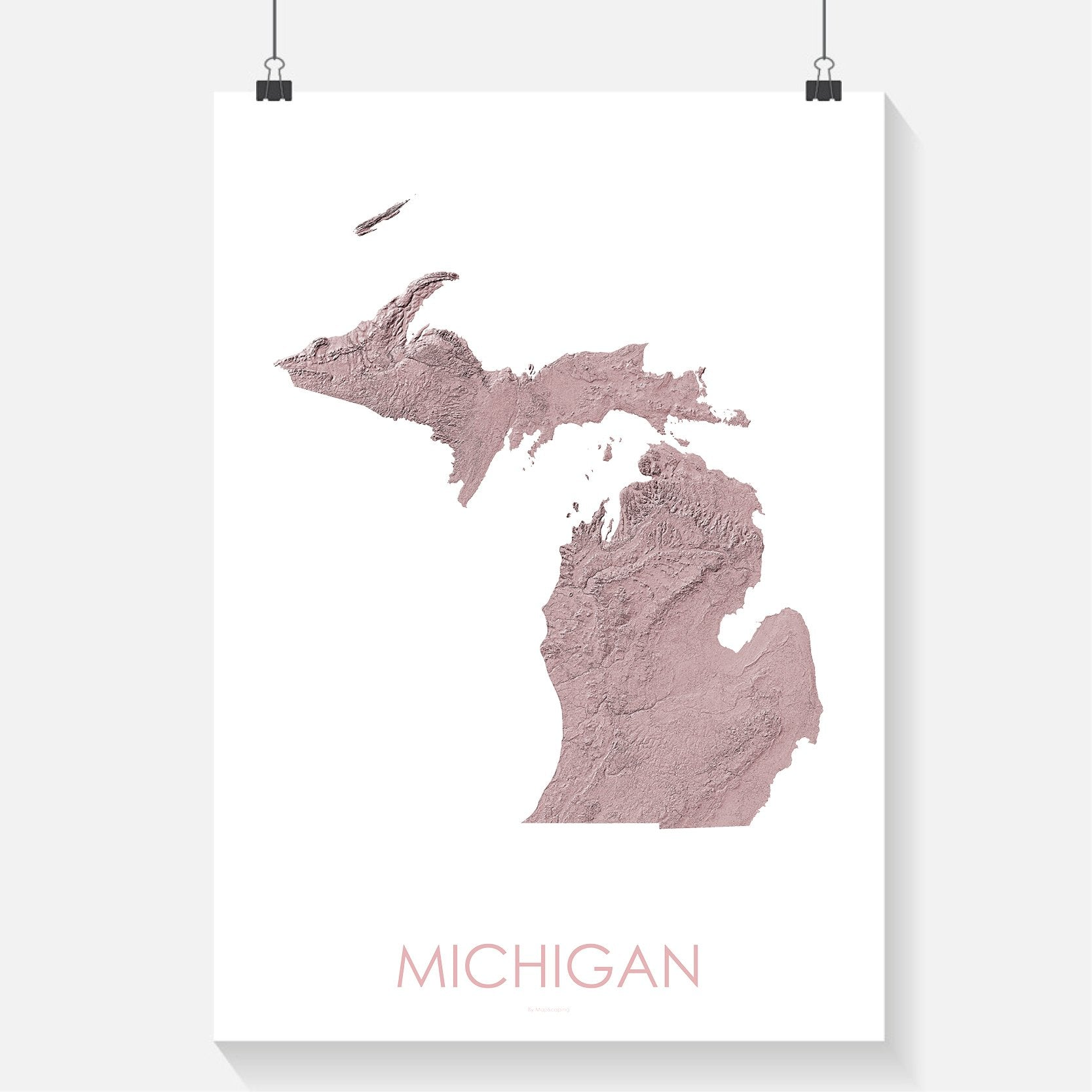 Michigan Poster Solid Rose Topographic Map Art By Mapscaping