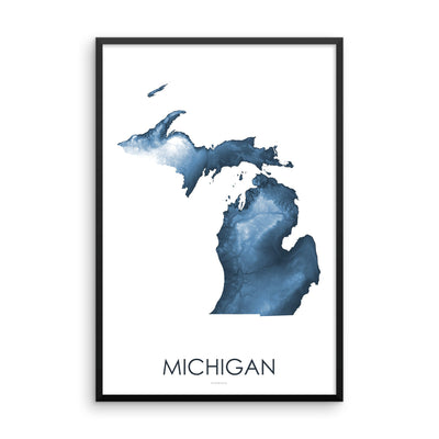 Michigan Map Midnight Blue-Topographic Map