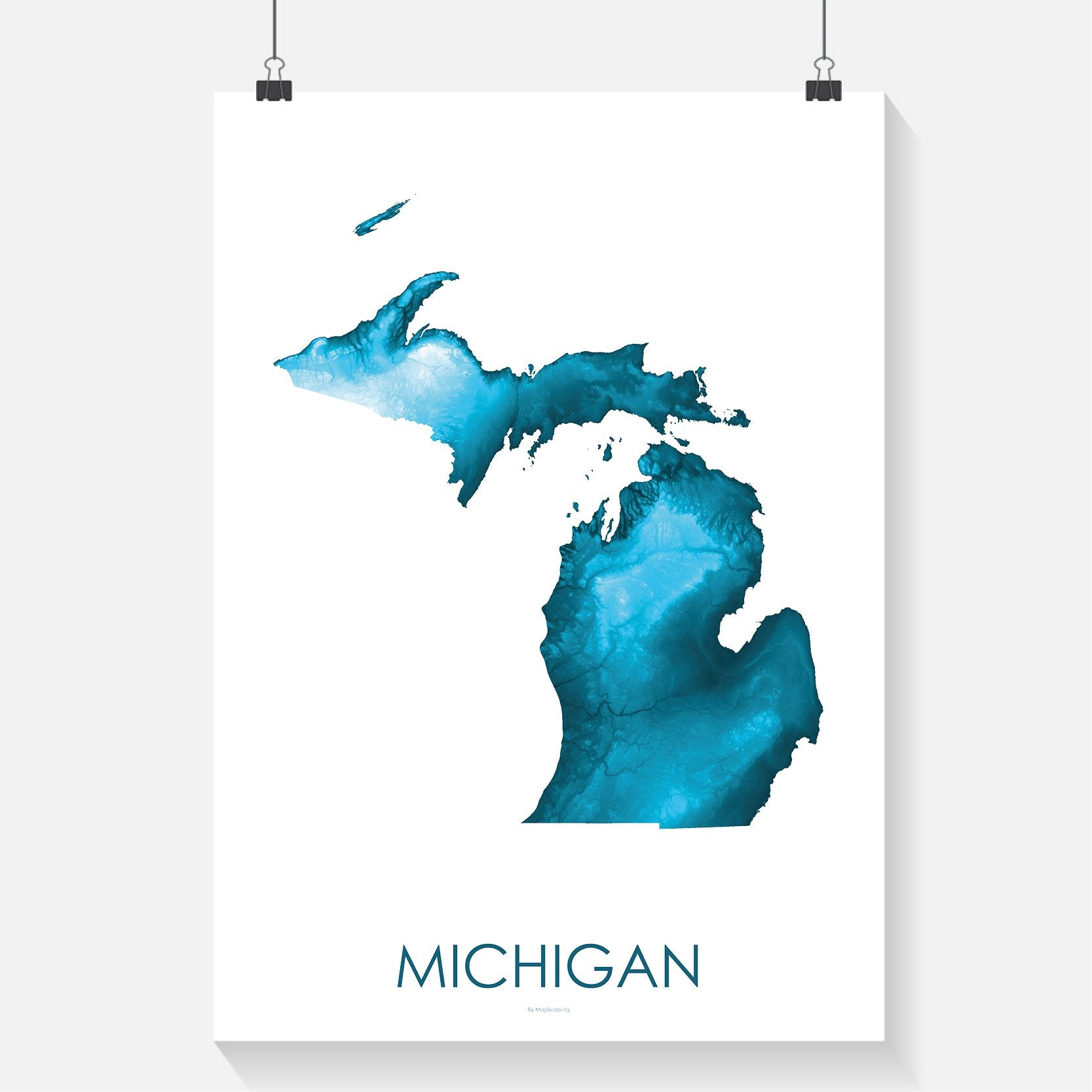 Michigan Poster Petroleum Blue Topographic Map Art By Mapscaping