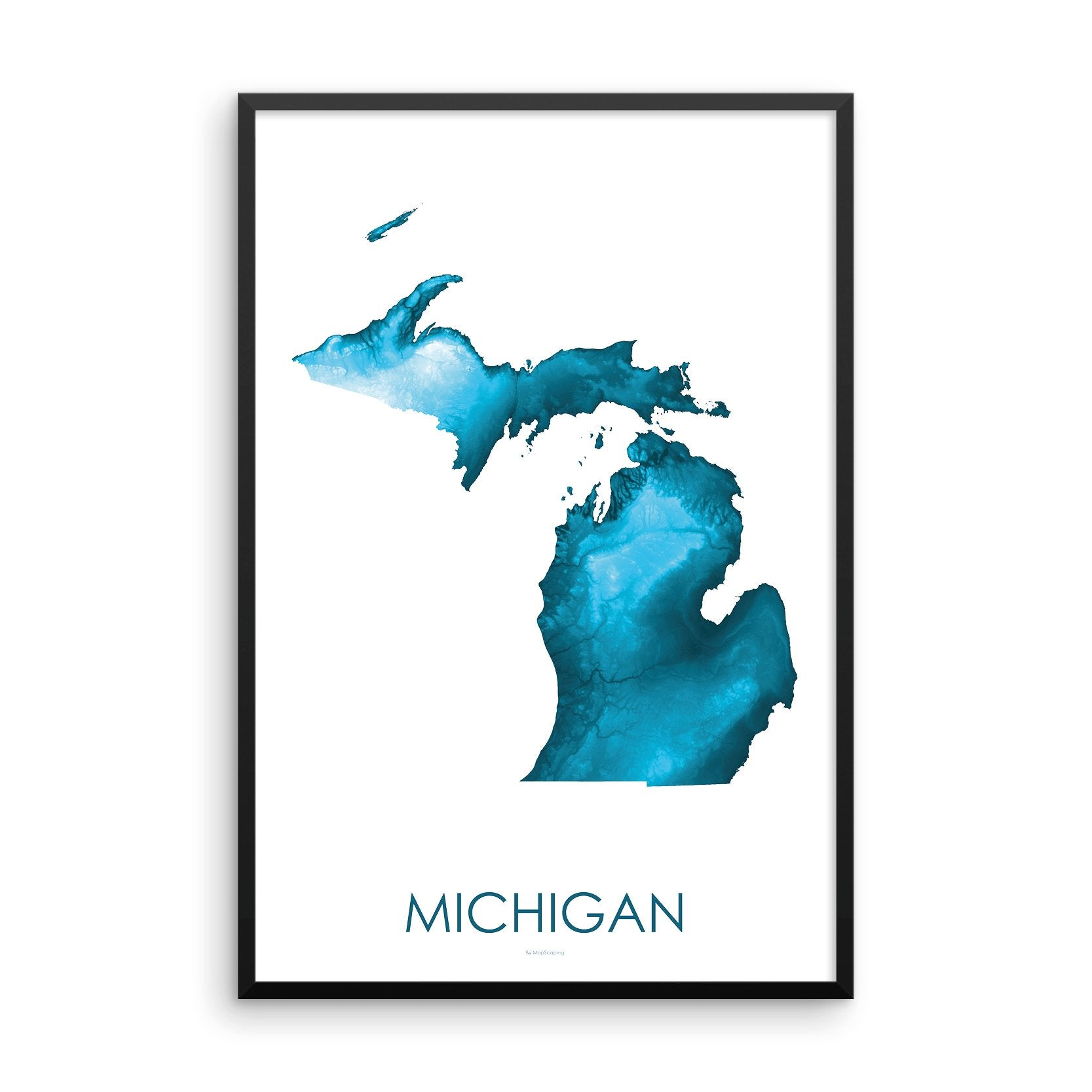 Michigan Map Petroleum Blue-Topographic Map