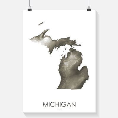 Michigan Map Slate-Topographic Map