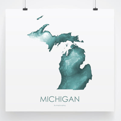 Michigan Map Teal-Topographic Map