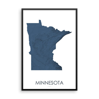 Minnesota Map 3D Midnight Blue