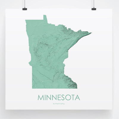 Minnesota Map 3D Mint