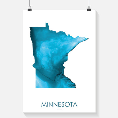 Minnesota Map Petroleum Blue