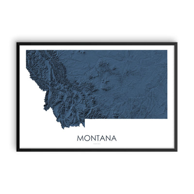 Montana Map 3D Midnight Blue-Topographic Map