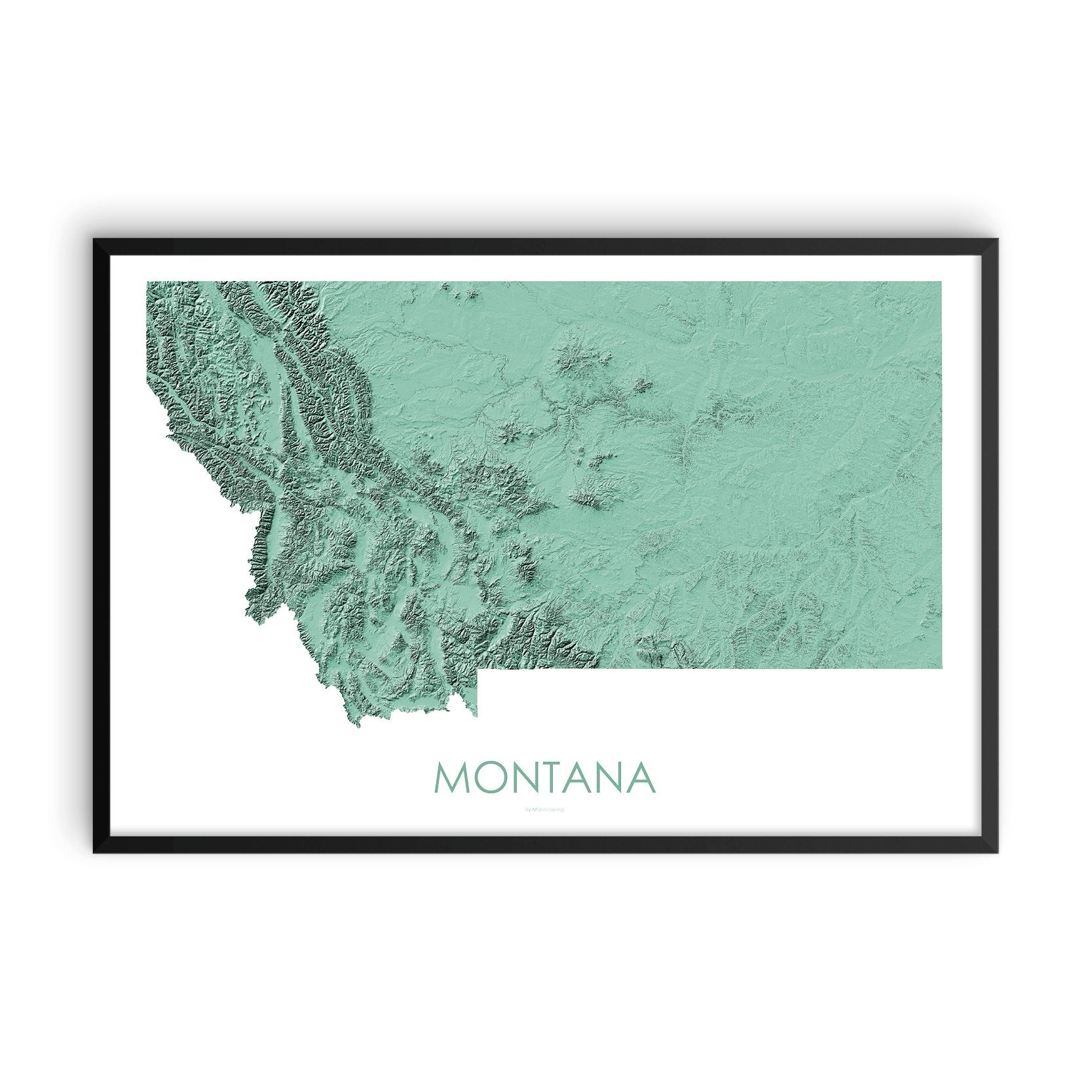Montana Map 3D Mint-Topographic Map
