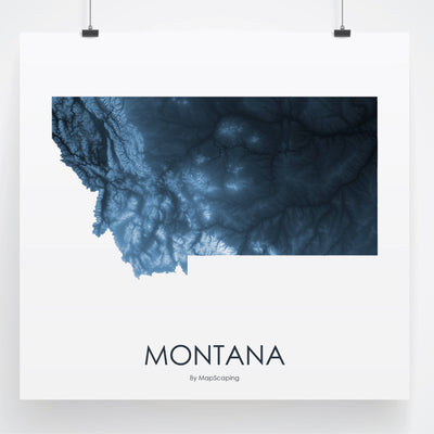 Montana Map Midnight Blue-Topographic Map