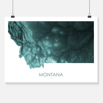 Montana Map Teal-Topographic Map